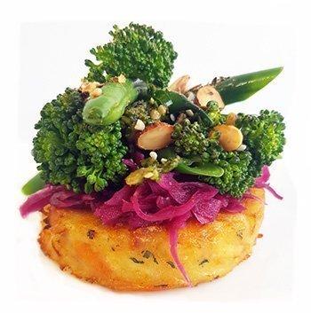 Vegetarian Vegan vegetable stack using Wild Chef Veggie Rosti