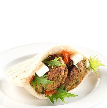 Vegetarian Vegan falafel pita pocket using Wild Chef mini burger buns