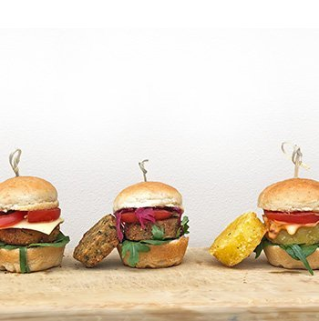 Vegetarian Vegan Sliders using Wild Chef mini burger buns
