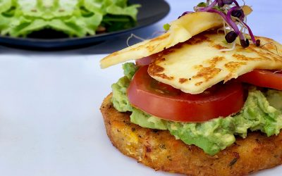 Corn Pattie Vegetarian Stack