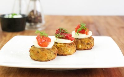 Easy Vegan Canape Using Mini Corn Patties
